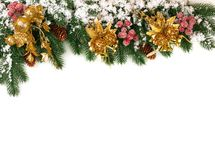 New year theme for the site spruce branches decoration snow stock photo