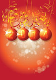 New Year 2014. A New Year themed image on a portrait format with 2014 set in a set of orange baubles with paper style decorations surrounding stock illustration
