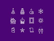 New Year thick line pixel perfect icon set Royalty Free Stock Photography