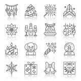 New Year christmas thin line icon set. New Year thin line reflection shadow icon set. Vector christmas flat style linear symbol pack. Outline sign without fill Royalty Free Stock Photography