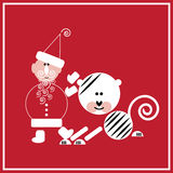 New Year of the Tiger. Illustration of Santa Claus with the tiger on the red background Stock Image