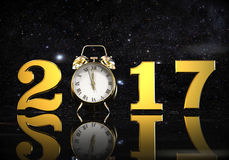New year time. 3D render image representing a new year eve with with a clock Stock Image