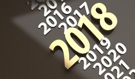 The New 2018 Year In Time Line. 3D Rendering Of The New 2018 Year In Time Line With Gold And Silver Colors Stock Photography
