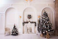 New Year time in white living room. Stock Photo