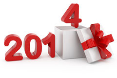 New Year title 2014 and silver gift Stock Photos