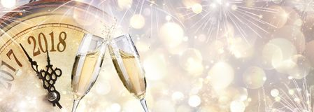New Year 2018 - Toast With Champagne. And Clock Stock Image