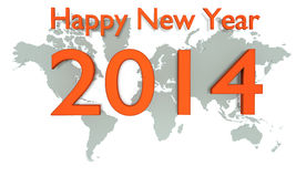 New Year 2014. Top view 3-D text lies on world map royalty free illustration