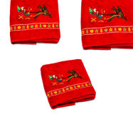 New year towels. Set of New Year towels, Santa sleigh and reindeer, isolated on white background Royalty Free Stock Photos