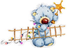 New Year toy bear.Christmas background. watercolor illustration royalty free illustration