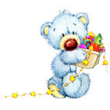 New Year toy bear.Christmas background. watercolor illustration Royalty Free Stock Photos