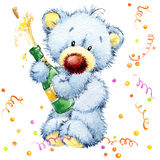 New Year toy bear.Christmas background. watercolor illustration Stock Photography