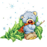 New Year toy bear.Christmas background. watercolor illustration Stock Image