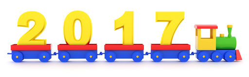 2017 New Year. The toy locomotive transports 2017 new year Stock Photos
