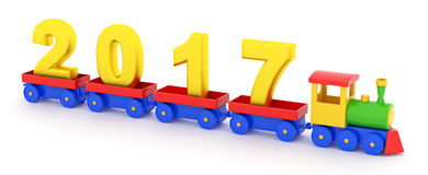 2017 New Year. The toy locomotive transports 2017 new year Stock Images