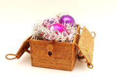 New Year toys. To decorate evergreen tree toys is old new-year tradition Royalty Free Stock Images