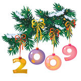 New year toys-digits. New year tree branch with toys in the form of digits 2009 Royalty Free Stock Photo