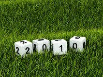 New year toys over grass. New year toys over green grass stock illustration