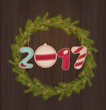 New Year toys in 2017 wooden frame Stock Photo