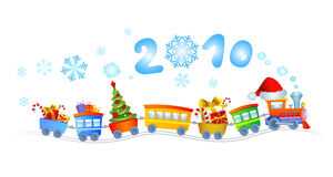 New Year train. Vector illustration of train with christmas tree and gifts Royalty Free Stock Images