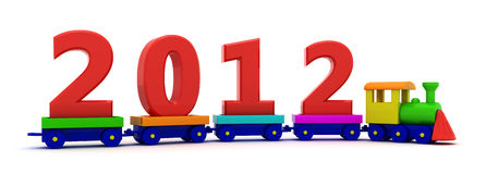 New year train. Red digits 2012 on the toy train royalty free illustration