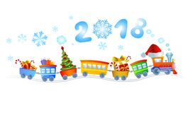 New Year train. Cute Christmas train with a smoke in the form of number 2018 Royalty Free Stock Image