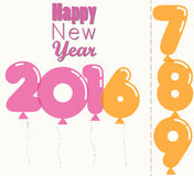 New Year 2016, transparent vector balloons. Happy New Year 2016, transparent balloons shape numbers font, colored greeting card stock illustration