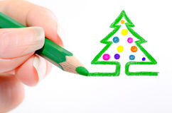 A new-year tree. Is drawn a pencil Stock Photography