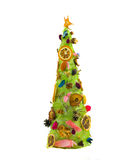 New Year tree. Creativity of the child - a fur-tree decorated with dry fruit Royalty Free Stock Images