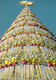 New Year tree. From multi-coloured spheres and icicles stock photos