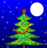 New-year tree on a background star sky. Illustration Royalty Free Stock Photo