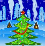 New-year tree on a background winter landscape. Illustration Stock Photos