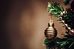 New year tree ball decor. New year decor fir tree with color balls Royalty Free Stock Images