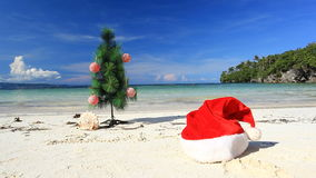 New year tree on beach Royalty Free Stock Images