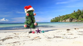 New year tree on beach Royalty Free Stock Photo