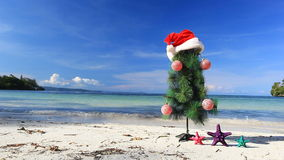 New year tree on beach Royalty Free Stock Image