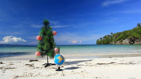 New year tree on beach Royalty Free Stock Photos
