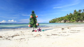 New year tree on beach Royalty Free Stock Image