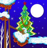 A new-year tree and berries of wild ash. Are illustration Stock Illustration