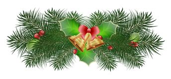 New Year tree branches of pine tree with Christmas bells and a bow and a tree of mistletoe with ripe red berries illustration. Of a white background Royalty Free Stock Images