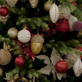 Beautiful Christmas tree. New Year tree with bright and beautiful balls and toys royalty free stock photography