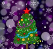 New-year tree on a bright festive background. Illustration Stock Photo