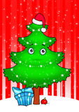 New year tree cartoon  card Royalty Free Stock Images