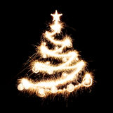 New year tree created from sparks stock photo
