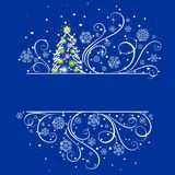 New Year tree on a dark blue background. New Year's composition on a dark blue background Stock Photo