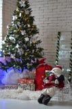 New year tree. Decor decoration bag present santa toy light background atmosphere design Royalty Free Stock Photography