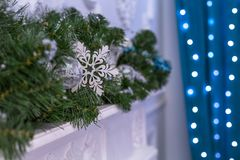 New Year tree decorated with blue toys - gifts and balls. blur Blue bokeh background for festival celebration Christmas, Happy New Royalty Free Stock Photography