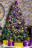 New Year Tree decorated. Christmas and New Year interior Royalty Free Stock Image