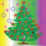 The New Year tree decorated with red bows Royalty Free Stock Images