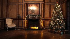 New Year Tree decorated room interior in classic style. Classic New Year Tree illuminated. Christmas decoration in grunge room interior stock video