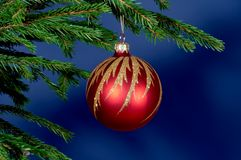 New-Year tree decorations. On blue royalty free stock photos